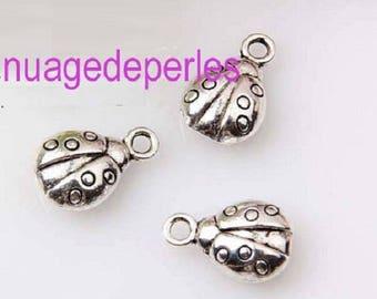 3 Tibetan silver Ladybug shaped charm pendant