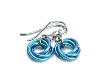 Niobium Earrings Teal Eternity Mobius, Hypo Allergenic Titanium Earrings for Sensitive Ears, Love Knot Chainmaille Flower, No Nickel Allergy