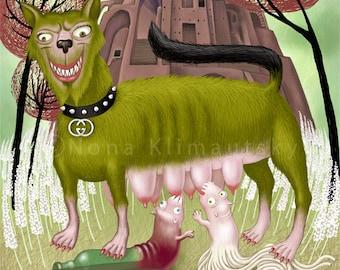Pop surrealism. Lowbrow. Giclee Digital  Art Print.  Lowbrow pop surrealism by Nona Klimautsky. Lupa Capitolina.