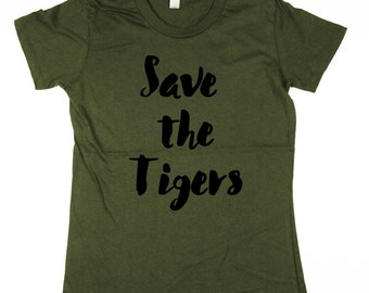 Womens Tigers T-shirt - tiger shirt, tigers, organic cotton Shirt, womens, ladies, Moss, Brown, Navy, Small, Medium, Large, XL, 2XL