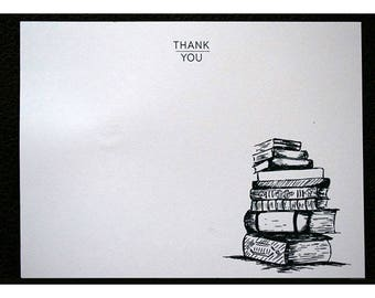 Flat Note Thank You Stationery Set with Stack of Books - Book Worm - Thank You Cards - Library - Books - Literary Note Cards