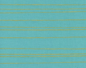 SALE - Cotton + Steel - Noel Collection - Gold Stripes in Aqua