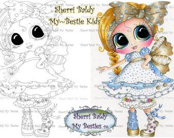 INSTANT DOWNLOAD Digital Digi Stamps Big Eye Big Head Dolls Digi  My - Besties  IMG08822 With Kitty By Sherri Baldy