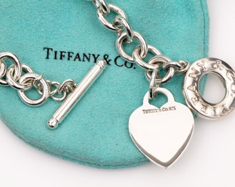 """Authentic Tiffany & Co. Toggle Heart Necklace // 925 Sterling Silver // Lifesaver Chain Link // 16"""" Length // With Pouch"""