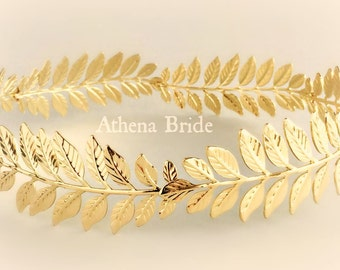 Gold Crown Greek Leaf Athena Goddess Stefana