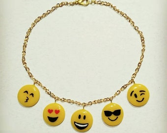 Short necklace of emoticons, around the neck
