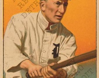 Vintage Detroit Tigers Ty Cobb Vintage Baseball Card Print
