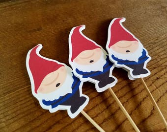 Gnome Garden Party - Set of 12 Red Gnome Cupcake Toppers by The Birthday House