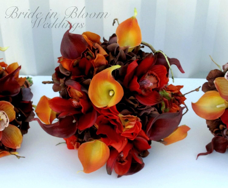Fall wedding bouquet set Autumn wedding flowers Red orange