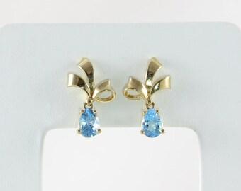 14k Yellow Gold  Blue Topaz Earrings Dangle Drop Earrings Bow Earrings