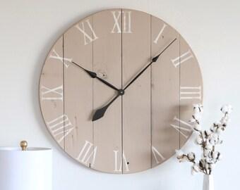 Large wall clock. Living room decor. Farmhouse decor. Rustic decor. Wall hanging. Wall decor. Barn wood clock.