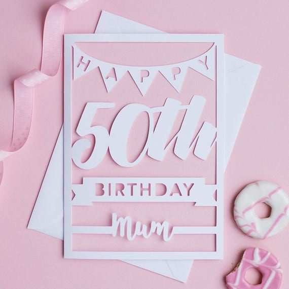 Happy 50th Mum Birthday Card Mum 50th Birthday Card