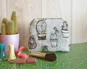 Succulent Cactus Cosmetic Pouch, Women Make Up Bag, Cute Handbag, Canvas Zippered Pouch, Cactus Birthday Gift for Her, Small Toiletry Bag