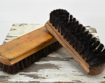 2 Wooden Shoe Brushes - old wood clothing brushes - Oxco and Griffin Shinemaster