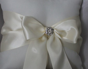 Ivory or White Ring Bearer Pillow with  Satin Ribbons and Rhinestone Accent
