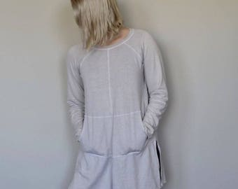 Hemp jersey crew neck oversized tee tunic with long sleeves