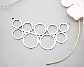 Gorgeous bib connector silver 70x35mm round - creating jewelry-
