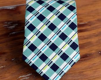 Mens Necktie, navy blue white plaid mens cotton tie, wedding necktie, plaid necktie, cotton necktie, teen necktie, gift for him, boys tie