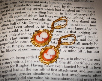 Austentation Jane Austen inspired Carnelian Coral Peach Cameo Earrings:  Anne