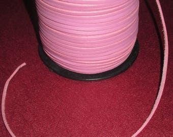 2.7 pink suede leather cord 1 mm