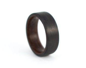 Men's carbon fiber and bentwood ring. Wooden black and brown matte ring. Water resistant, very durable and hypoallergenic. (00407_7N)