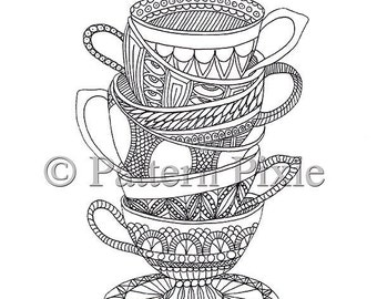 Colouring Page Teacups Doodle