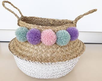 Wicker basket with Bobbles pink turquoise lilac