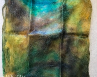 Silk Hankies / Mawata / Hand Dyed / Silk Fiber / Spinning / Felting / Forest / 1/4 Oz / Hand Dyed Silk / Silk Hanky