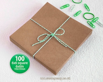 100 Kraft Envelope, Greeting Card Envelope, 155x155mm -  6 1/4in square, Triangular Flap, Gummed, Ribbed Brown, 110gsm, 100% recycled PSS022
