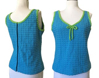 1960s Textured Sweater Knit Tank Top