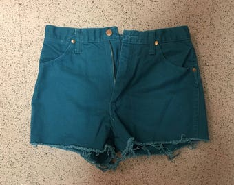 Vintage Wrangler Teal Denim Cutoff Shorts