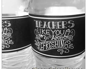 DIGITAL Teachers are Refreshing Sign and Waterbottle Labels Back to School Decoration Refreshments Pta Principal Teacher Appreciation