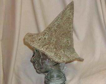 Green and Brown Brocade Witch Hat