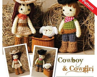 Amigurumi Cowboy, Cowgirl, and Lamb Pattern