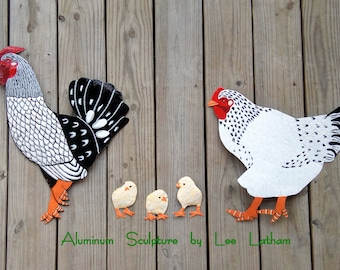 Chickens [Black U0026 White Wyandotte Rooster, Hen And Chicks] Fence Art, Patio