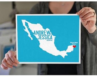 Mexico Wedding Gift - Personalized International Map - Custom Destination -Location City and Country Modern Art Print - Cancun, Riviera Maya