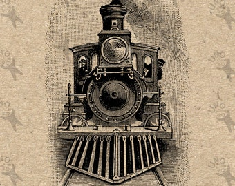 Vintage Retro drawing Train Locomotive Steam Instant Download Digital printable Black and White graphic scrapbooking burlap totes towels etc