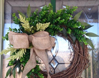 Boxwood wreath, Spring wreath, small boxwood wreath, Year round wreath, Front door boxwood wreath, wreath front door, boxwood with ribbon,