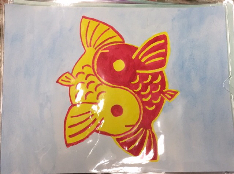 Yellow & Red Yin-Yang Koi Fish Watercolor Painting
