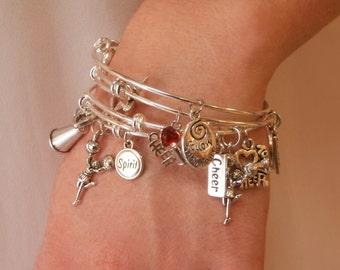 Cheerleading Jewelry, Cheerleader Gift, Cheer Bracelet, Cheerleading Charm Bangle Bracelet Set of 4 - Silver