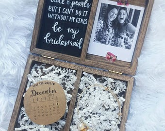 Wooden Bridesmaid Gift Box with Wedding Jewelry