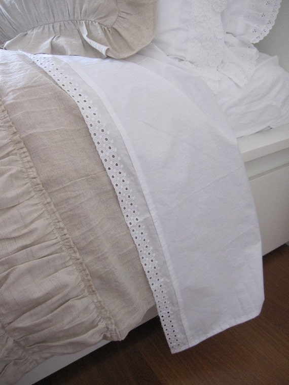 Solid White Cotton Flat Sheet Eyelet Lace Trim Shabby Cottage