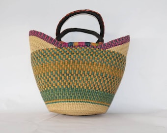 Mixed Vabrant Woven Large Basket Bag