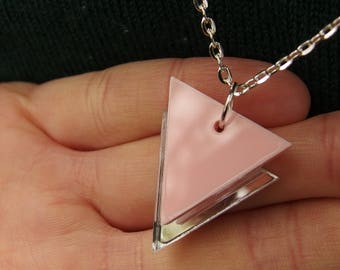 """Pink on Mirror Laser Cut Acrylic Geometric Triangle Necklace 20"""" Silver Chain"""