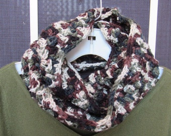 Double wrap infinity scarf in earth tones