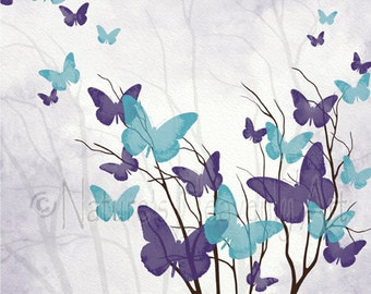 Butterfly Wall Art Print, Aqua Blue and Purple Girls Decor, 8 x 10 Living Room Art, Flying Butterfly Decor for Home (356)