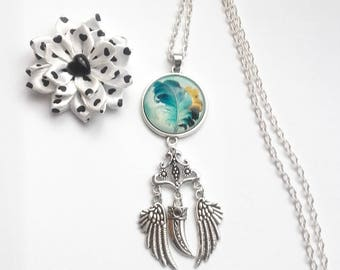 Silver necklace, 25mm glass cabochon, theme feather wings