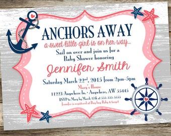 Nautical Girl Baby Shower Invitation - Anchor Baby Shower Invite
