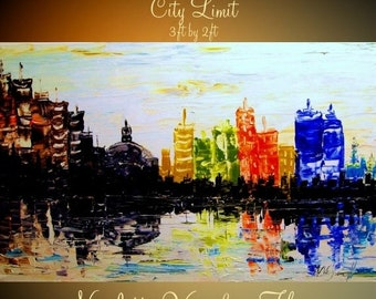 "SALE ORIGINAL Abstract gallery wrap canvas-Contemporary City  multicolor Oil painting by Nicolette Vaughan Horner 36""x24"""