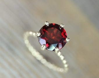 Garnet Ring, January Birthstone Ring, Alternative Engagement Ring, Yellow Gold Solitaire Ring